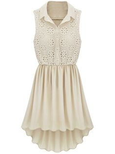 Apricot Sleeveless Hollow Embroidery Pleated Dress