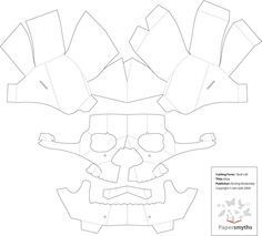 Another Pop Up Skull   Template Example, No Instructions  Paper Face Mask Template