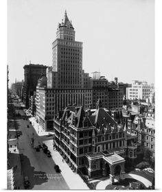 The Gilded Age Era: The Cornelius Vanderbilt II Mansion, New York City overshadowed by commercial development. Vanderbilt Houses, Cornelius Vanderbilt, American Mansions, The Breakers, Old Mansions, Biltmore Estate, Second Empire, Vintage New York, Aerial View