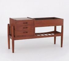 Mid Century Danish Modern Teak Planter Entry Chest Cabinet Shelf Eames