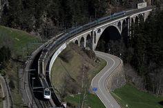 Gotthard Nordrampe der Gotthardbahn bei Wassen im Kanton Uri in der Schweiz