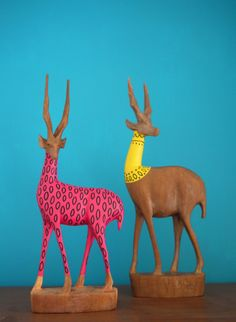 Pair of Hipster hand carved African Gazelles. £25.00, via Etsy.