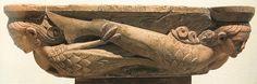 Acquasantiera in marmo con sirene e pesce dalla Pieve di San Giorgio (Ganaceto). È opera del celebre Wiligelmo, fra i maggiori artisti medievali, ed è datata intorno al 1100