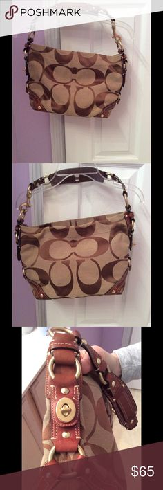 """COACH Carly Hobo bag This beautiful bag is gently worn, but in great condition! Minor fray on top shown in the picture but that is it! The last picture shows the difference between this bag and the Carly mini version of this bag. This is a cute classic bag that can carry your essentials. Dimensions are 10""""Lx9""""Hx4""""W Coach Bags"""