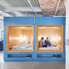 Employees at Casper's headquarters in New York can have meetings or take naps on beds provided at the offices, designed by local firm Float Studio.