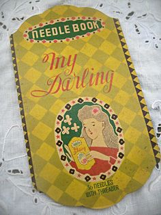 Vintage rare needle book My Darling with by LittleBeachDesigns
