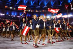 Team Austria looking energized:    Members of the Austria team take part in the Opening Ceremony of the Rio 2016 Olympic Games at Maracana Stadium on Aug. 5, in Rio de Janeiro, Brazil.