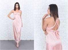 Vintage 70er Jahre 80er Jahre rosa Maxi Kleid von thekissingtree