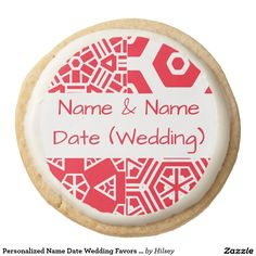 Personalized Name Date Wedding Favors 4 Tina Round Shortbread Cookie