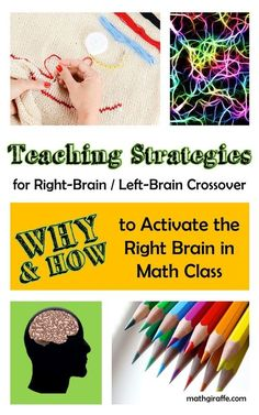 Teaching with both sides of the student brain in mind - How to add creative & visual tasks to analytical & logical math classes. PLUS the benefits of coloring, doodling, and exercising during a lesson Brain Based Learning, Whole Brain Teaching, Teaching Math, Maths, Teaching Ideas, Dyslexia Teaching, Vocabulary Activities, Fun Math, Math Games