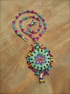 HIPPIE LOTUS necklace BUDDHA charm hand made jewelry bohemian gypsy necklace beaded necklace spiritual necklace. $79.00, via Etsy.