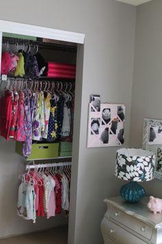 Toddler Girl Room organized closet