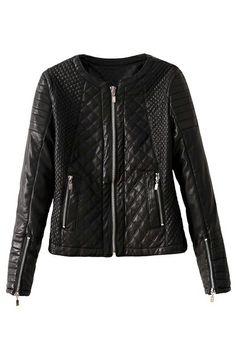 ROMWE | Romwe Diamond Pattern Zippered Faux Leather Black Jacket, The Latest Street Fashion