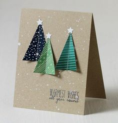 Schöne Weihnachtskarten selber basteln christbaum design u you really want every one of the the Diy Holiday Cards, Simple Christmas Cards, Beautiful Christmas Cards, Christmas Card Crafts, Homemade Christmas Cards, Christmas Tree Design, Christmas Cards To Make, Diy Cards, Homemade Cards