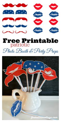 free printables for of July - patriotic lip & mustache printable photo booth party props - classic red white and blue for Fourth of July fun! photo booth printables that are really free 4th Of July Celebration, 4th Of July Party, Fourth Of July, Photo Booth Party Props, Photo Props, Photo Booths, American Party, American Flag, July Birthday