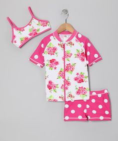 Take a look at this Pink Rose Rashguard Set - Girls by Marina West on #zulily today!