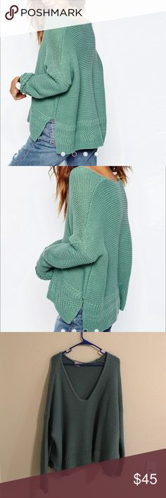 Sage Green Sweater Purchased from ASOS awhile ago. Has a deep v-neck. Very soft, no itch. Never got the chance to wear it. Brand new. PRICE IS FIRM. ASOS Sweaters Crew & Scoop Necks