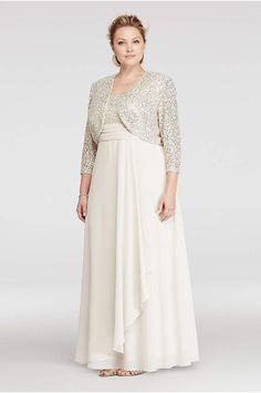 Gathered Jersey Plus Size Dress with Lace Bodice - Davids Bridal