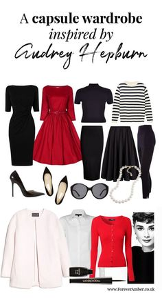 Audrey Hepburn Style Capsule Wardrobe - She was the epitome of classic style. I love these inspired looks! Audrey Hepburn Stil, Audrey Hepburn Inspired, Audrey Hepburn Clothes, Audrey Hepburn Fashion, Look 2015, Look Retro, Fashion Capsule, Minimalist Wardrobe, Looks Vintage