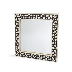 """Attractive Bubble Mirror Attractive bubble mirror is a fabulous, unique choice for anyplace. This trendy mirror made up of wood with Bone Inlay, is sure to make a huge impression in any room of your home. 36"""" L x 36"""" D (inside mirror 26"""" L x 26"""" D)Materials: Wood with Bone InlayFinish: Waxed"""