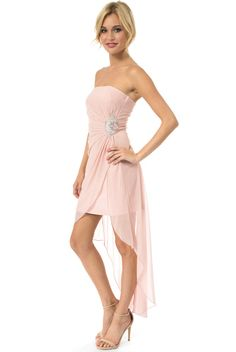 21ff894fc5e Full view of Teeze Me Glitter Jewel Ornament High-Low Dress - Blush
