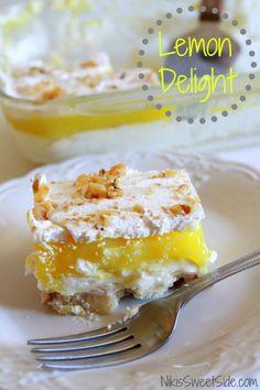 Lemon Delight Recipe ~ lemony piece of heaven!