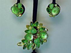 Juliana (D) Emerald Green Pin and Clip-On Earrings
