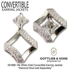 Give your Princess Cut studs NEW life with our Convertible Earring Jackets that allow you to wear your studs three different ways! Visit your favorite Gottlieb & Sons jeweler to enhance your studs! Art Deco Jewelry, Fine Jewelry, Jewelry Design, Jewellery, Diamond Studs, Diamond Pendant, Gemstone Earrings, Diamond Earrings, Diamond Earring Jackets