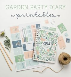 Free Garden Party Diary Printables from Tinyme - these inserts will work well with my Franklin planner pages I think :o) To Do Planner, Free Planner, Planner Pages, Happy Planner, Printable Planner, Planner Stickers, Free Printables, Party Printables, Diary Planner