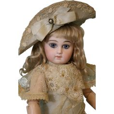 13.5 inch Second-Series Portrait French Jumeau Antique Doll Circa 1880 Fabulous Outfit What a luminous face! This is a second-series antique French