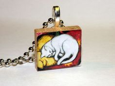 Sleeping White Cat Scrabble Tile Necklace By HArtworks  #HArtworks #Necklace