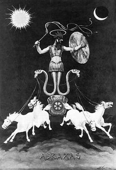 Abrasax -  The word may be related to Abracadabra, although other explanations exist. Carl Jung wrote a short Gnostic treatise, which called Abraxas a God higher than the Christian God and Devil, that combines all opposites into one Being.