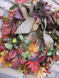 LEOPARD SWIRL fall wreath with leaves berries by faucettandflame, $49.99