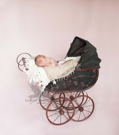 chesapeake newborn photographer baby girl antique baby carriage www.JourneyThroughLifePhotography.com