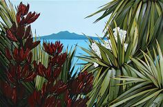 Kirsty Nixon New Zealand contemporary landscape artist, detailed realist paintings, Rangitoto, NZ beach scenes, coastal