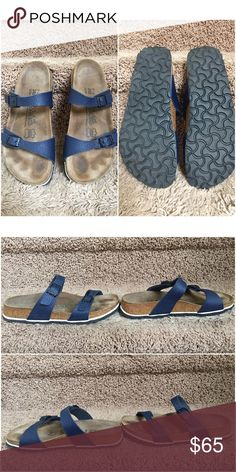 Birki's by Birkenstock sandals size 7 Item: sandals with special cushioned insoles  Brand: Birki's by Birkenstock  Size: 7 Color: navy blue True to size: yes  Material: n/a Condition: reselling, wore twice during the summer but determined it was too big on me (I think it was a bit too wide for my feet, but I was constantly tripping wearing these, not sure why); GUC; cheaper on Ⓜ️️erc Birkenstock Shoes Sandals