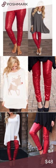 The BROOKLYN sequin leggings - RED Super fun & which girl isn't head over heels in love with sequins? Perfect for the holidays, NYE, a hot date or girls night out. Also AVAILABLE IN GOLD & BLACK.   LIMITED QUANTITIES AVAILABLE. Get yours soon!   PLS SEE PIC 4 CLOSE UP OF ACTUAL ITEM  ‼️NO TRADE, PRICE FIRM‼️ Bellanblue Pants Leggings
