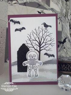 stampinn Halloween Card grave Skeleton bat Karte mit Skelett Fledermäusen Set…