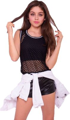 Looking for new tops? Shop range from crop tops, mesh tops, t-shirts, bralette, blouse & more. Rock your casual look with our women's tops. White Fishnet Top, White Fishnet Stockings, Disney Channel, Sou Luna Disney, Girl Fashion, Fashion Outfits, Rave Outfits, Girl Meets World, Girl Photos