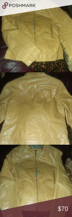 🎈🎈Sally and John New York fashion leather jacket New Sally and John New York mustard colored leather jacket size medium very stylish NWOT beautiful leather Sally and John Jackets & Coats