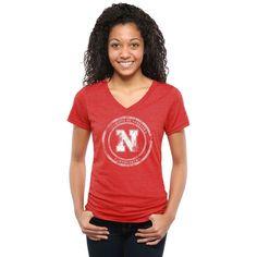 Nebraska Cornhuskers Women's State Flag Tri-Blend V-Neck T-Shirt - Scarlet