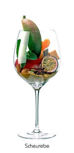 Descrição aromática da variedade: SCHEUREBE: Mandarine, Mandel, Aprikose, Pfirsich, Mango, Passionsfrucht, Minze, Senfmehl, Kardamom, Curry, Karamell, Sternanis, Lorbeerblatt