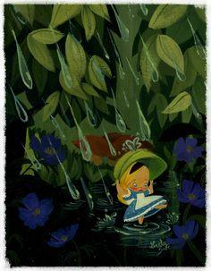 Alice in the Rain x 11 fine art velvet paper Print - Art by Lorelay Bové. Pretty Art, Cute Art, Chesire Cat, Alice In Wonderland Party, Cute Disney Wallpaper, Princesas Disney, Disney Art, Disney Magic, Doodle Art