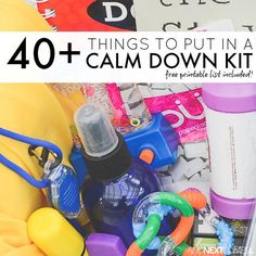 40+ things to put in a calm down bin or calm down box for kids with free printable list.  Very valuable information for back to school.  Be prepared with everything you need in one place.