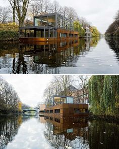 11 Awesome Examples Of Modern House Boats // Floating between two bridges in Hamburg, this multilevel houseboat offers a peaceful escape from city life with beautiful views of the water and surrounding areas.