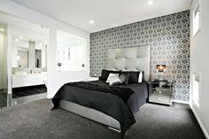 Schönes Schlafzimmer Mit Einem Bett Mit Schwarzen Bettwäschen