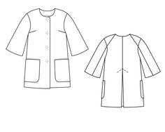 Пальто с круглым вырезом горловины - выкройка № 102 из журнала 8/2014 Burda – выкройки пальто на Burdastyle.ru