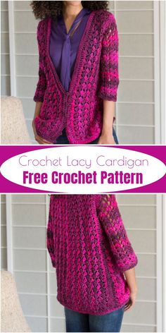 Some fashion trends always hit every season like free crochet cardigan patterns. These free crochet cardigan patterns will keep you busy to crochet something new but really amazing that is going to be inspired you a lot. Crochet Cardigan Pattern, Knit Or Crochet, Crochet Shawl, Free Crochet, Crochet Sweaters, Crochet Patterns, Crochet Fashion, Crochet Clothes, Inspired