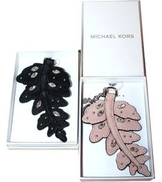 bc675bd9b2686 MICHAEL KORS Fern Leaf Leather Keychain Key FOB Purse Charm Key Ring MK  Gift Box  MichaelKors