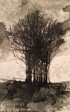 Steps for Portrait Drawing with Charcoal - Drawing On Demand Landscape Pencil Drawings, Watercolor Landscape, Abstract Landscape, Landscape Paintings, Art Drawings, Watercolour, Tree Sketches, Tinta China, Artist Sketchbook